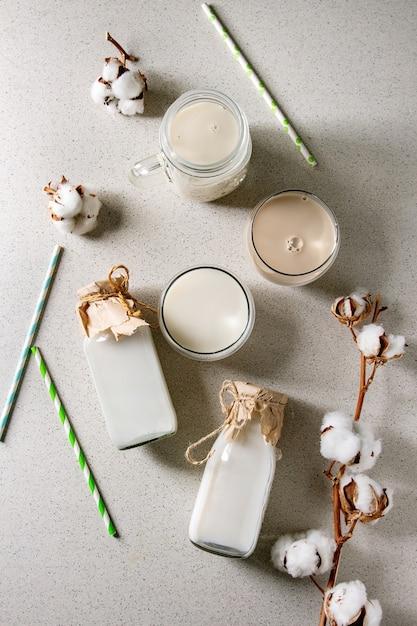 Variety of non-dairy milk Premium Photo