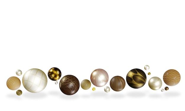 白い3dの幾何学的な背景に空中に浮かぶさまざまな光沢のある球形のボール Premium写真