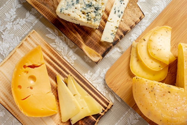 Variety of tasty cheese on a table Free Photo
