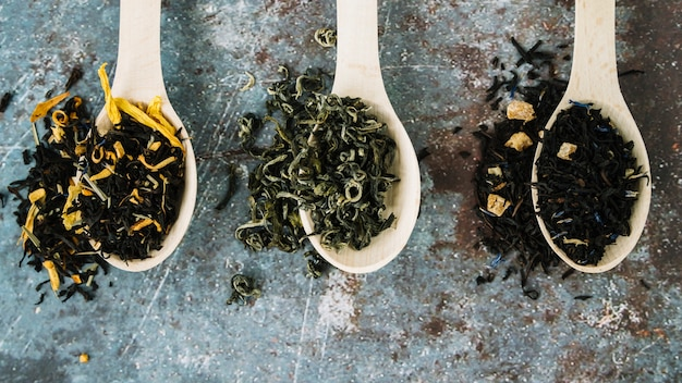 Variety of tea herbs in spoons flat lay Free Photo