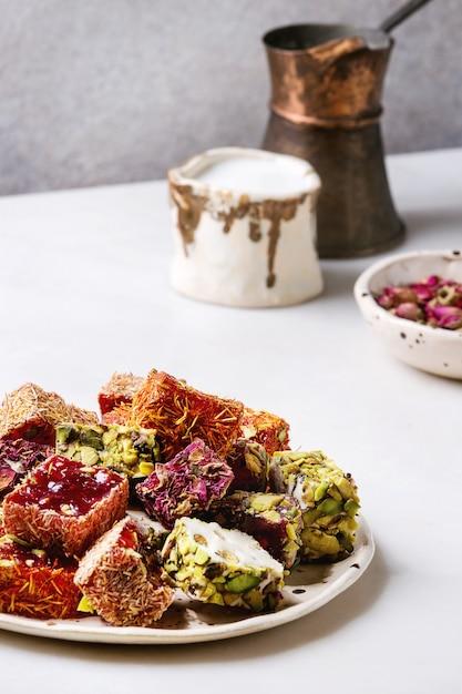 Variety of turkish delight Premium Photo