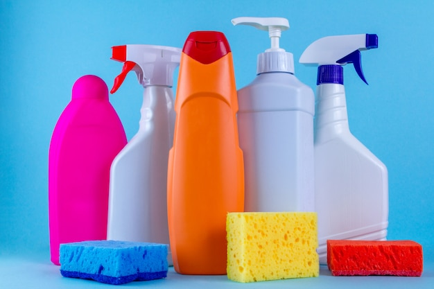 Various bottles, sprays for cleaning the house Premium Photo