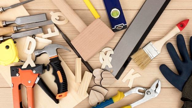 Various carpentry tool top view Free Photo