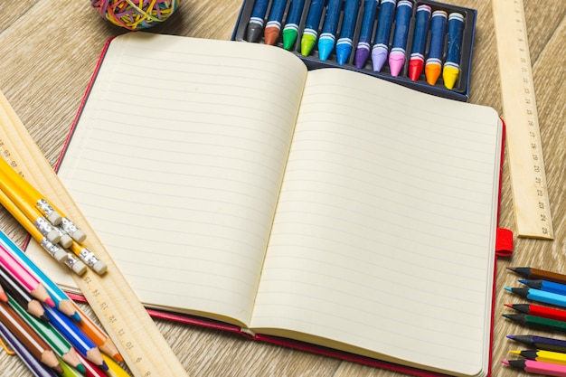 Various colorful drawing tools. mock up Premium Photo