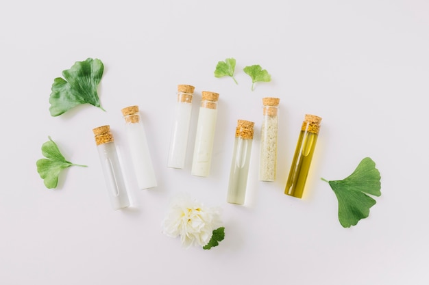 Various cosmetic products in test tube with gingko leaf and flower on white backdrop Free Photo