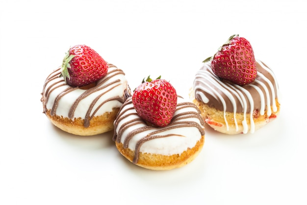 Various donuts on white background Premium Photo