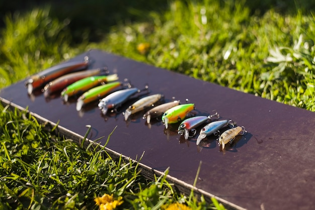 Various fishing hooks in a row Free Photo