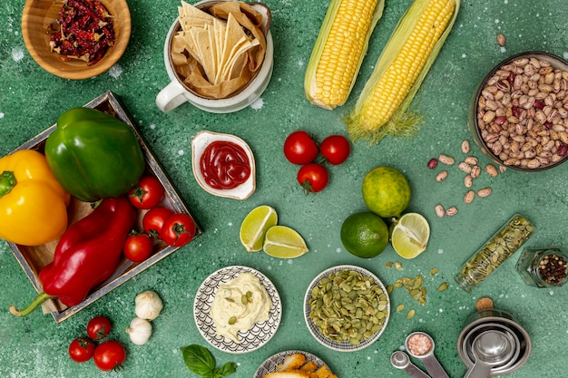 Various fresh ingredients for traditional mexican dish Free Photo