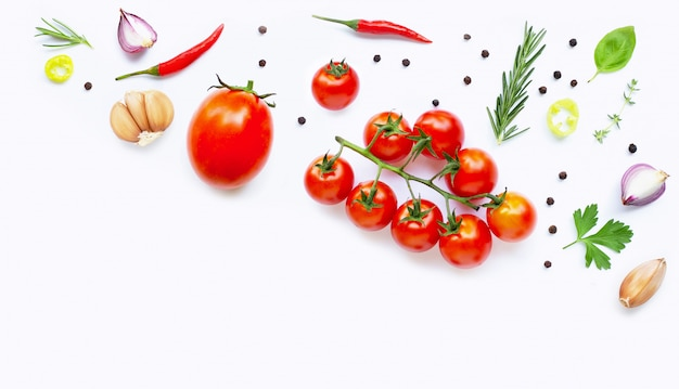 Various fresh vegetables and herbs. healthy eating concept Premium Photo