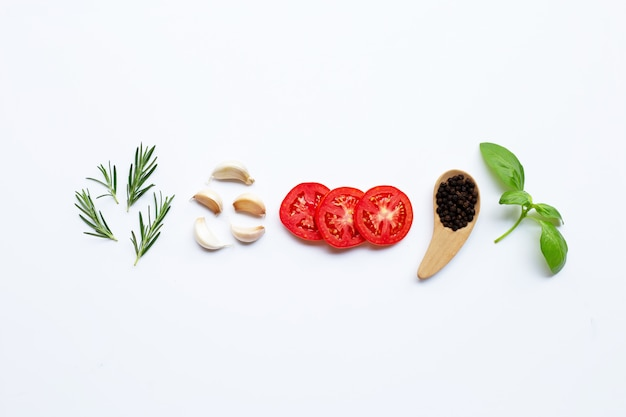 Various fresh vegetables and herbs on white background. healthy eating concept Premium Photo