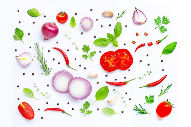 Various fresh vegetables and herbs on white background Premium Photo