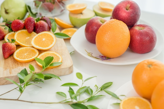 Various fruits, eating health care and healthy concept Free Photo
