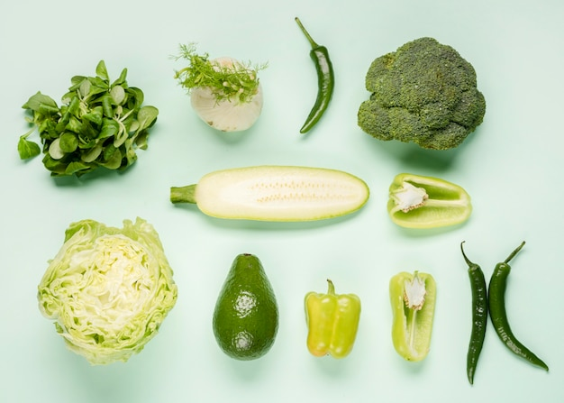 Various green veggies top view Free Photo