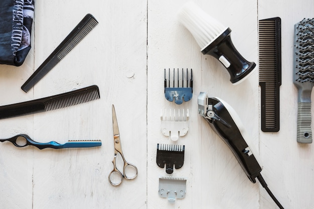 Various hairdressing equipment on white background Free Photo