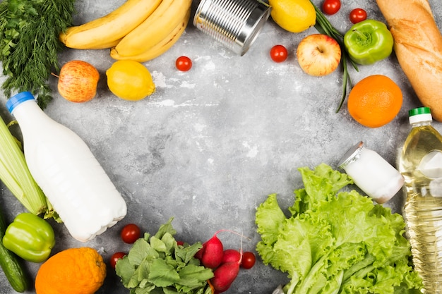 Various healthy food on gray background. Premium Photo