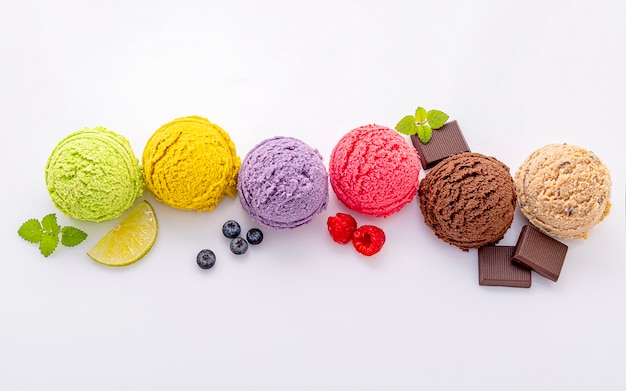 Various of ice cream flavor ball isolate on white background . Premium Photo