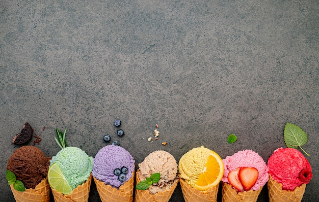 Various of ice cream flavor in cones set up Premium Photo