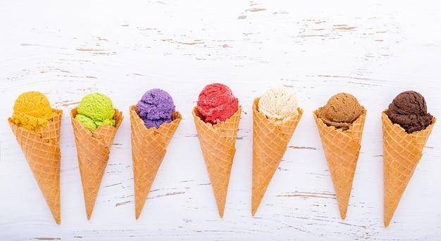 Various of ice cream flavor in cones Premium Photo