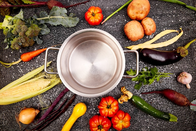 Various organic vegetables ingredients around empty cooking pot Premium Photo