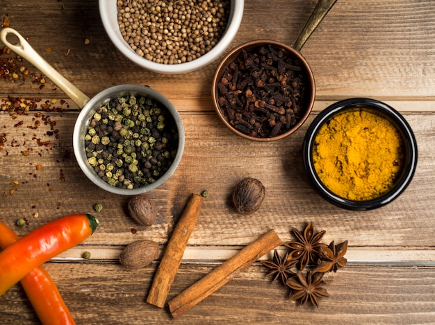 Various spices composition on table Free Photo