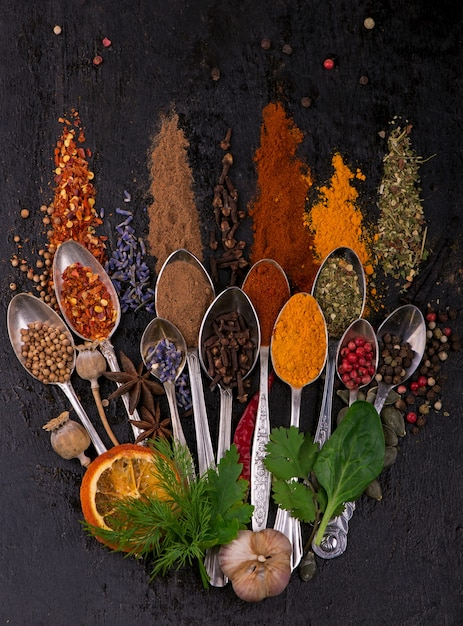 Various spices spoons on stone table. top view with copy space. Premium Photo