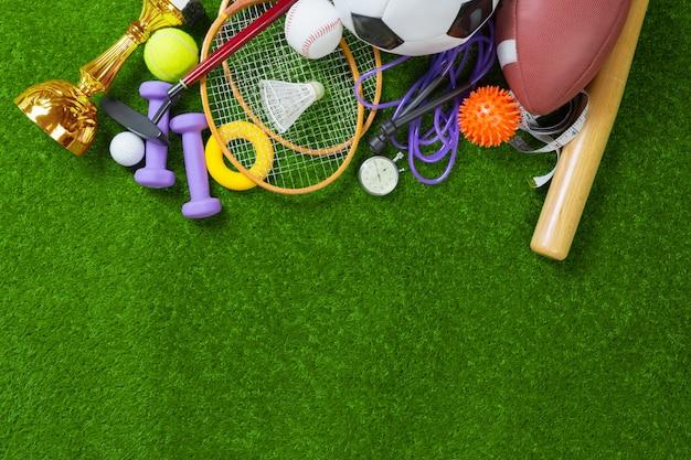 Various sport tools on grass Premium Photo
