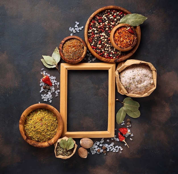 Various type of herbs and spices Premium Photo