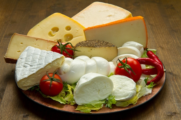 Various types of cheese Premium Photo