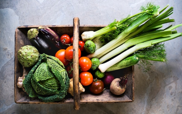 Various types of fresh vegetables Premium Photo