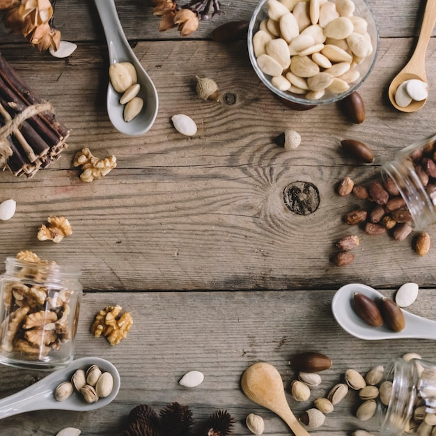Various types of nuts with space in middle Free Photo