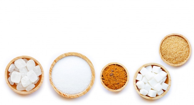 Various types of sugar Premium Photo