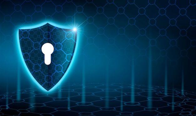 Vector blue shield business concept of data protection blue shield  blue background Premium Photo