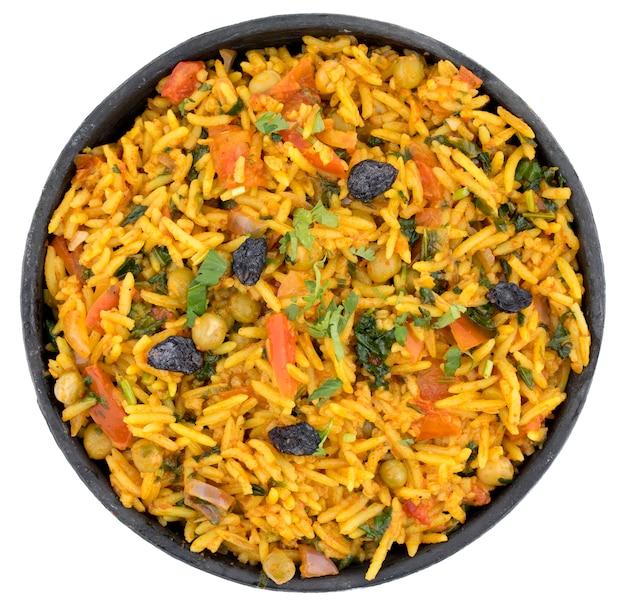 インドの伝統的なデザートveg biryani Premium写真