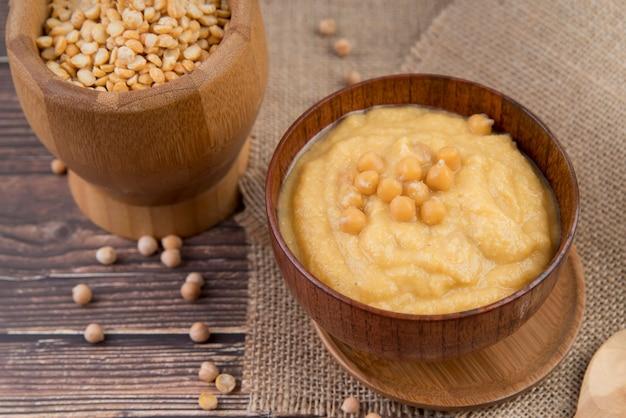 Vegan chickpeascreme soup high view Free Photo