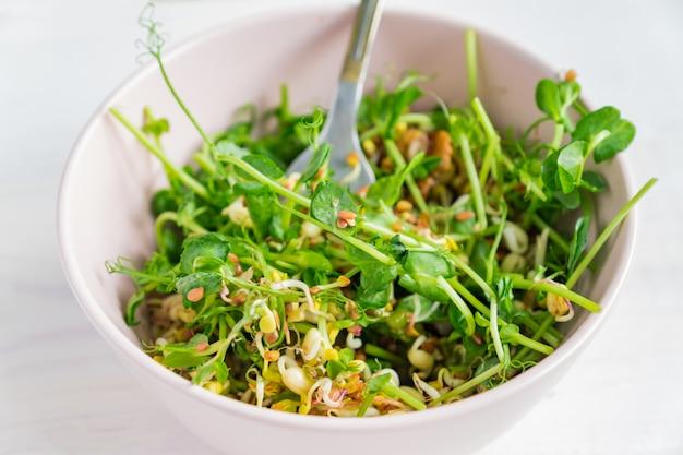 Веганский полезный салат из гороха с зелеными ростками и проросшей фасолью в розовой миске на сером Premium Фотографии