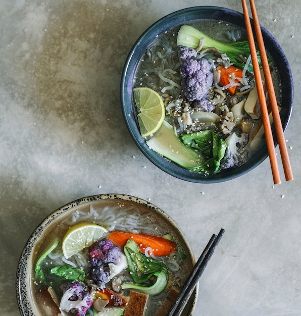 Vegan noodle soup with tofu food photography recipe idea Free Photo