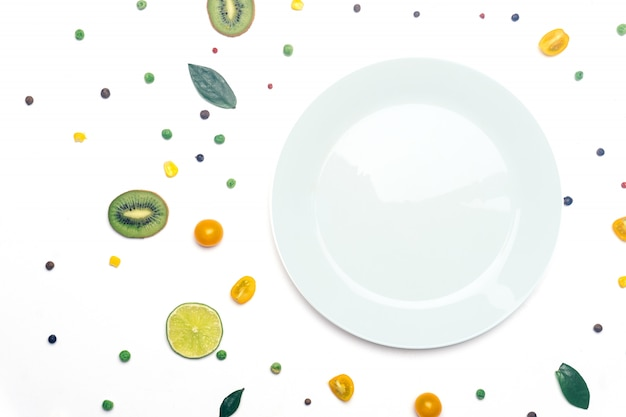 Vegan vegetables and fruit detox with a plate Premium Photo