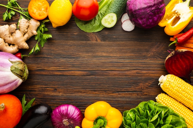 Vegetable arrangement with copy space Free Photo