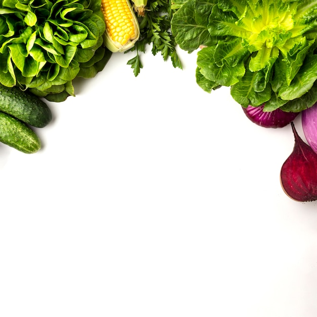 Vegetable frame on white background with copy space Free Photo