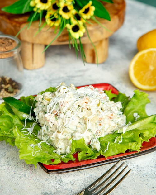 Vegetable salad with lots of mayonnaise Free Photo