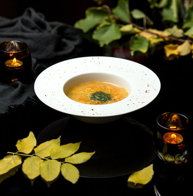 Vegetable soup on chicken broth sprinkled with herbs Free Photo