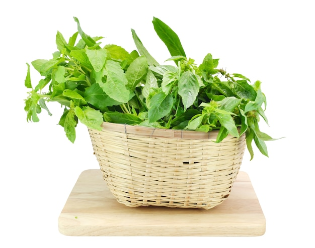 Vegetables in the basket, isolated on white Premium Photo