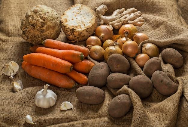 Vegetables on blanket Free Photo