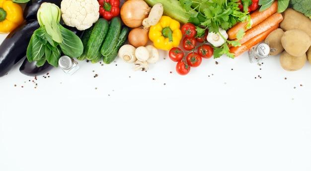 テキスト用のスペースと野菜のクローズアップ。 Premium写真