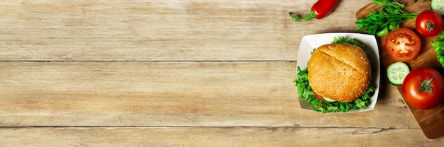 Vegetables On A Cutting Board On A Wooden Background Products For Cooking Copy Space Banner Premium Photo