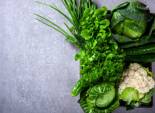Vegetables green.food or healthy diet concept. Premium Photo