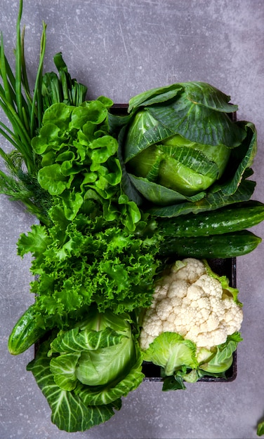 Vegetables green on the gray background Premium Photo