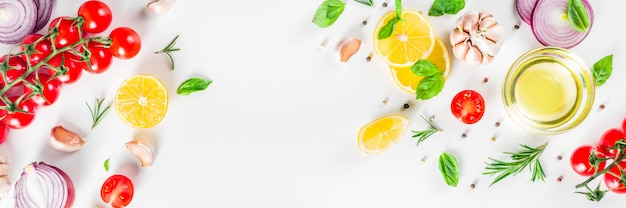 Vegetables and herbs for cooking, top view Premium Photo