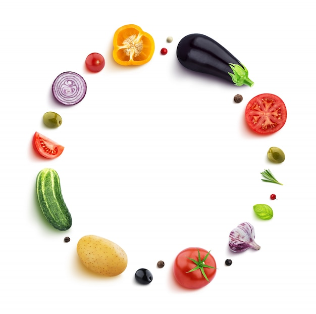 Vegetables isolated on white in a round frame Premium Photo
