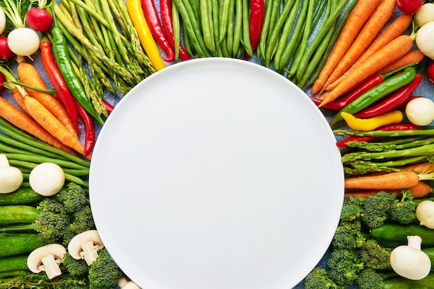 Vegetables with empty white plate in the middle. Premium Photo